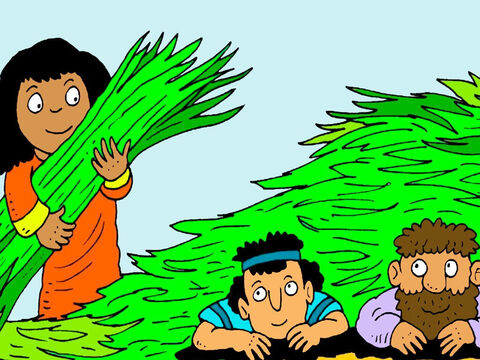 'Hide up here on the roof, under these flax stalks I have drying. When God gives you this city, remember to save my family,' said Rahab. – Slide 6