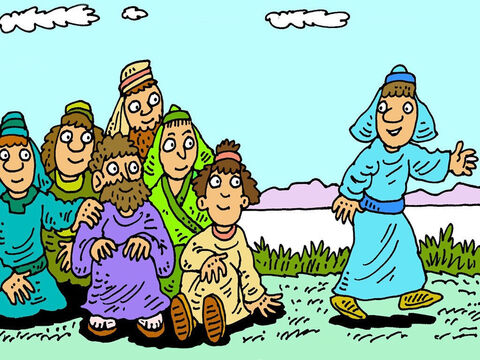 Simon Peter, Thomas, Nathaniel, James, John and two friends, were by the sea of Galilee. 'I'm going fishing,' Simon Peter said and his friends went fishing with him. – Slide 2