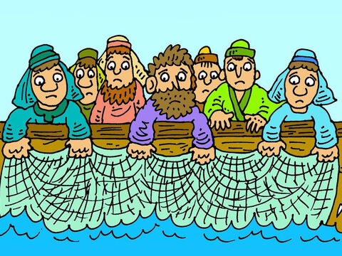 Twice since Jesus had died on the cross people had said that they had seen him alive. They fished all that night but didn't catch any fish. – Slide 3
