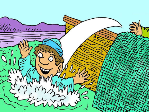 Peter quickly put on his fishing jacket and swam ashore.  He was so excited to see Jesus alive! This was the third time that Jesus was seen after He had risen from the dead. – Slide 7