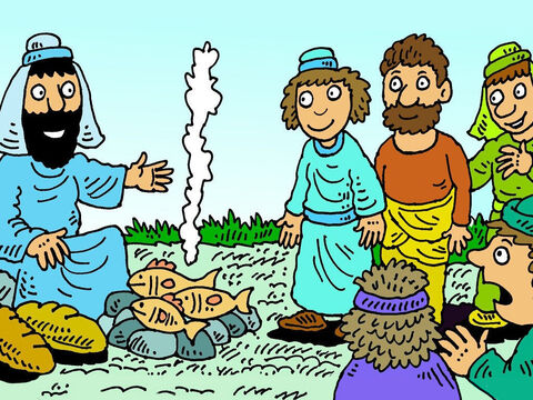 Jesus had some fish cooking on a fire. The disciples shared the amazing breakfast. Jesus ate with them and they talked together.  They were so happy Jesus had risen from the dead and was alive! – Slide 8