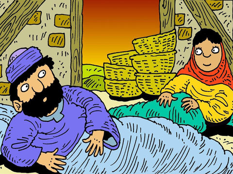 Naomi was praying for a husband for Ruth. She told Ruth to go to the barley shed and sleep at the end of Boaz's bed. Boaz woke up and was surprised to see her there. – Slide 2