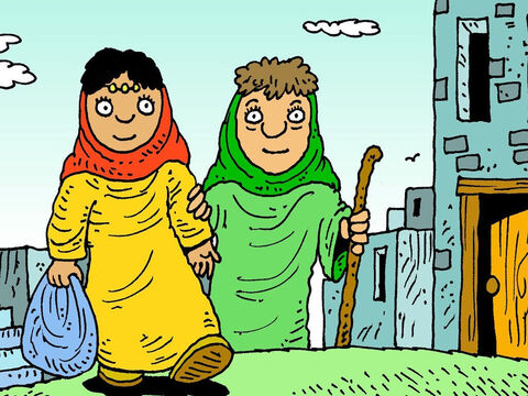 Ruth left her own country and her family, because she loved Naomi and she loved God. It was barley harvest time when Ruth and Naomi got back to Bethlehem. – Slide 6
