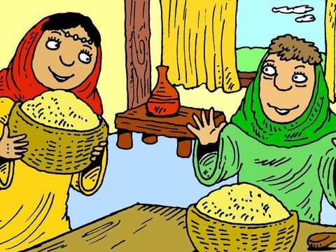 Ruth showed all the barley to Naomi. 'God has looked after us today,' Naomi said. 'Boaz has been very kind to you.' They thanked God for looking after them. – Slide 8