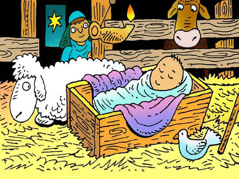 The shepherds hurried to Bethlehem and searched until they found baby Jesus wrapped in soft linen and sleeping in a manger bed of hay, just as the angel had said. They told Mary and Joseph about the angel's good news! – Slide 7