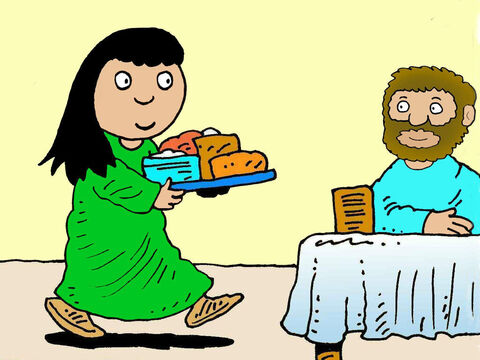Straight away the fever left her. She got out of bed, completely well, and prepared a lovely meal for Jesus and His friends. – Slide 7