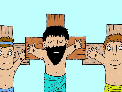 Jesus was crucified on a cross between two bad men who were being punished for stealing other people's things. – Slide 2