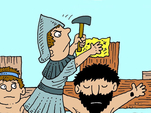 A Roman soldier nailed some words on the cross above Jesus. The words said, 'This Is the King of the Jews.' – Slide 3