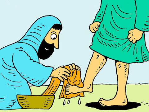 Jesus knelt down and began to gently wash their dirty feet and dry them on a towel. – Slide 4