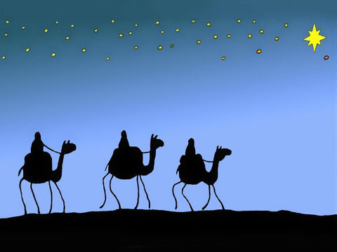 The Wise Men packed the things they needed for the long ride, along with valuable presents for the new born King. They set out on a big journey towards the star, which shone so brightly every night. – Slide 3