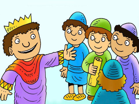 They went to look for the baby King at King Herod's palace in Jerusalem. King Herod's priests and teachers said that Christ would be born in Bethlehem. 'Come back and tell me when you find Him,' said King Herod slyly. – Slide 4