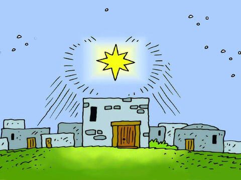 So the Wise Men started out towards Bethlehem. They saw the star shining in the east and went towards it, until it was right above the house where Mary and the little child Jesus were living. – Slide 5