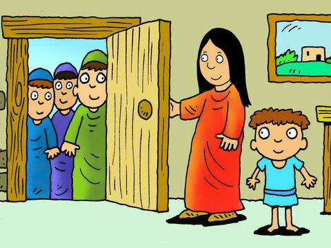 When Mary opened the door she was surprised to see such important strangers from a far off land. They told her they had even been to King Herod's palace to try to find the new born King! – Slide 6