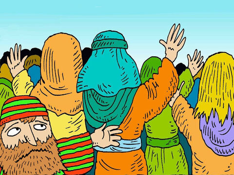 When Jesus was coming to town, everyone went to see Him. Zacchaeus was very small. No one would let him see Jesus. – Slide 3