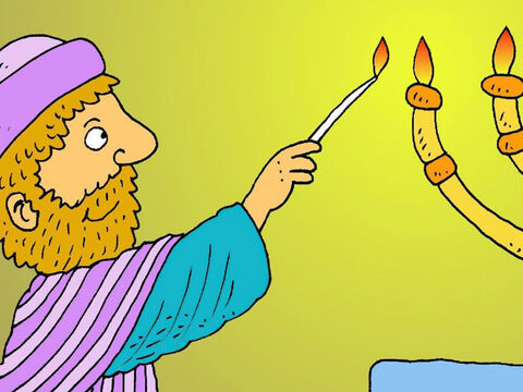 Zacharias was a good man. He loved to pray as he helped in the temple at Jerusalem, but he was sad because he had no children. – Slide 2