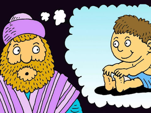 'You and your wife Elisabeth will soon have a baby boy. 'You must call him John,' said the angel. <br/>'This can't be true,' said Zacharias. – Slide 4