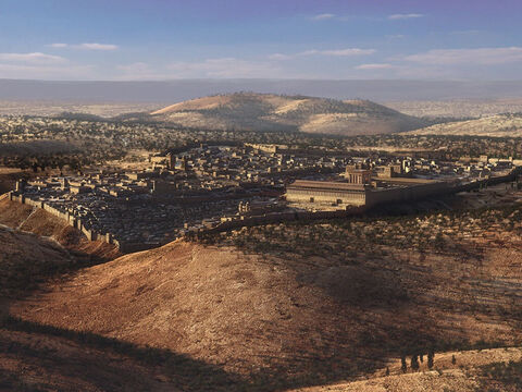 One day Jesus and His disciples travelled to the Mount of Olives, just outside Jerusalem. – Slide 8