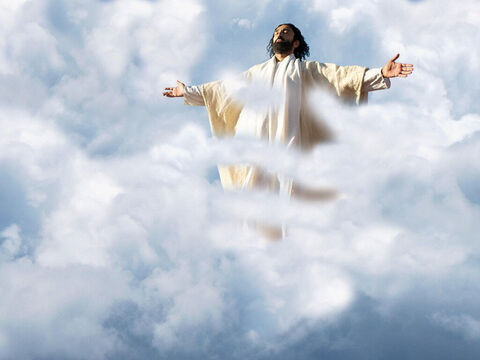 Soon afterwards, Jesus rose into the sky and disappeared into a cloud, leaving them staring after him. – Slide 12