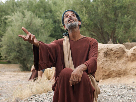 A blind man was sitting by the roadside begging. His name was Bartimaeus (which means the 'son of Timaeus'). – Slide 2