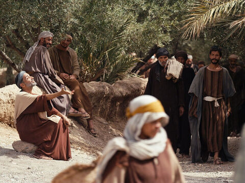 When Bartimaeus heard that Jesus of Nazareth was in the crowd coming towards him, he began to shout, 'Jesus, Son of David, have mercy on me!' – Slide 3