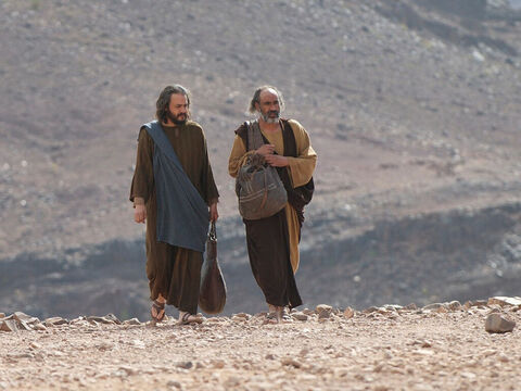 Now the same day that the tomb of Jesus was found empty, two of Jesus' disciples were going to a village called Emmaus. – Slide 1