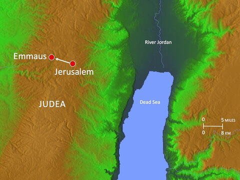 It was a walk of about seven miles (10km) from Jerusalem. – Slide 2