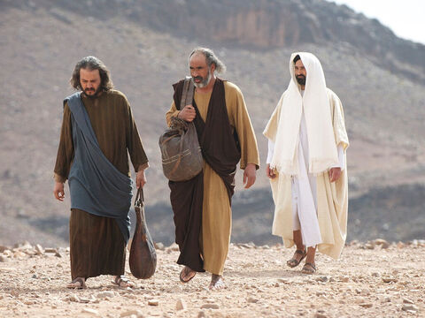They were discussing the recent events that had happened in Jerusalem. As they talked Jesus came up and walked along with them. But they were kept from recognising Him. 'What are you discussing together as you walk along?' Jesus asked. – Slide 3