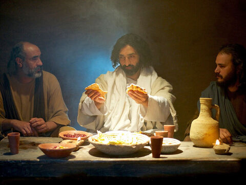 When Jesus was at the table with them, He took bread, gave thanks... – Slide 12