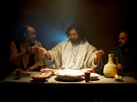 ... broke it and began to give it to them. Then their eyes were opened and they recognised Jesus. – Slide 13