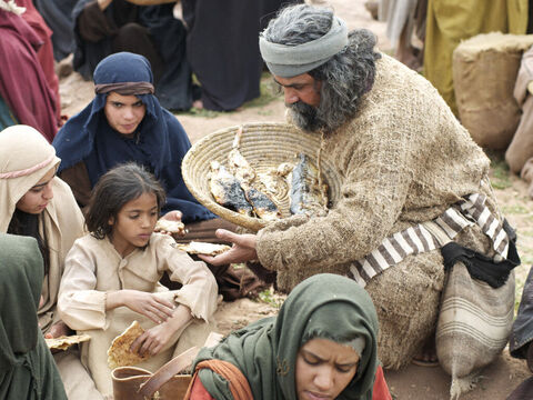 Jesus gave the pieces of bread and fish to His disciples who then gave them to the crowds. – Slide 8