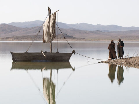 Going further along the shore Jesus saw two other brothers, James and John. They too were fishermen, working in their boat. – Slide 6