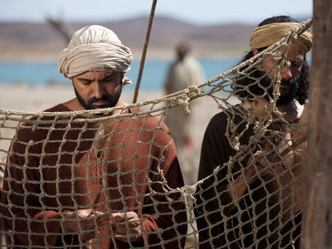 James and John were with their father Zebedee, preparing their nets. – Slide 7