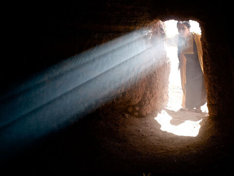 The empty tomb with the stone rolled away has become a symbol of the resurrection of Jesus. – Slide 14