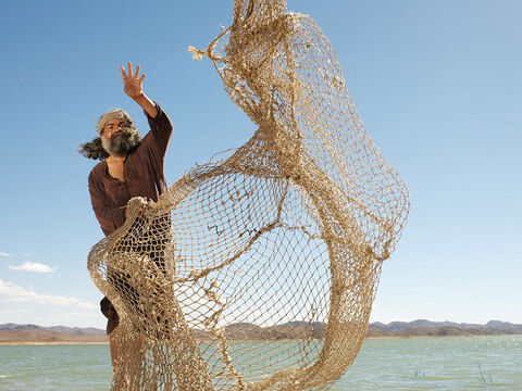 The cast net is a circular net about 15ft in diameter with weights around the edge and a long line attached to the centre of the net.<br/>The net is released with a broad sweep of the arm over shallow water near the shore where the shoals of fish can be seen. A cast net or hand net was probably used by the disciples when asked by Jesus to cast their net over on the other side of the boat (Mark 1:16-17). – Slide 12