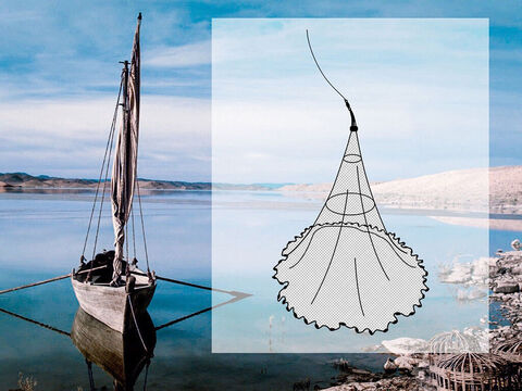 It is thrown in such a manner that the leaded edge forms the base of a cone, the apex being formed by the fisherman holding the centre of the net in his hand. The cone thus formed encloses the fish. As the centre cord is pulled up the weights come together trapping the fish. – Slide 13