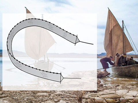 The second method of using a net to catch fish was to use a drag net or seine. The long net could be drawn out between the shore and a boat or in deeper water between two boats. – Slide 15