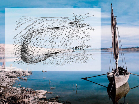 Drag nets could also be used by a team on shore while others used a boat to row the net out to sea. The boat was then rowed in a circular direction back to shore, trapping any fish caught in the loop. The nets were then hauled in from the shore. – Slide 20