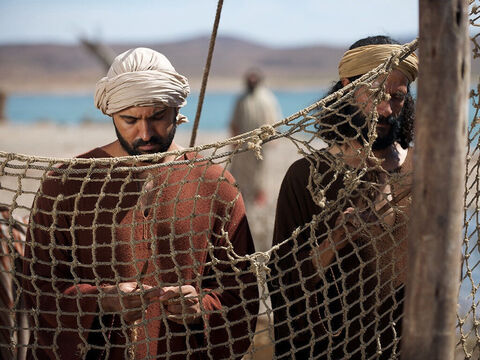 Fishermen constantly had to spend time mending their nets. It was while Simon Peter, Andrew, James and John were mending their nets on the shore that Jesus found them and called them to be His disciples. – Slide 21