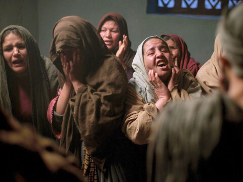 Outside the house of Jairus, Jesus saw mourners crying and wailing loudly. He went in and said to them, 'Why all this commotion and wailing? The child is not dead but asleep.' But they laughed at Him. – Slide 15