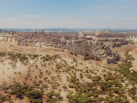 A view of Jerusalem from the south. Hinnom valley in foreground and Kidron valley to the right. – Slide 1
