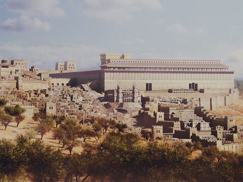 The lower city of Jerusalem is in the foreground with the southern wall of the Temple in the background. – Slide 2
