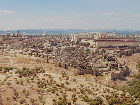 A wide view of Jerusalem from the south with the Hinnom valley in foreground and Kidron valley to the right. The temple is to the right and the upper city where the rich lived is to the left. The towers of the fortress of Antonia are shown at the north-west corner of the temple. – Slide 3