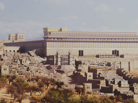 The south wall and royal porch of the Temple with the double and triple gate entrances. Robinson's arch entrance is seen on the west wall and behind that is the entrance via an arched bridge over the Tyropoeon Valley. <br/>The fortress of Antonia is in the background on the right overlooking the temple courts. The towers of the Roman hippodrome can be seen in front of the temple. – Slide 4
