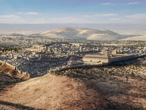 Jerusalem from the south-east with the Mount of Olives to the right. Within the city in the foreground left is the spur of the city of David, the Tyropoeon valley and behind that the Upper City. The Temple and Fortress of Antonia are within the city walls to the right. – Slide 5