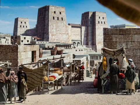 The streets of Jerusalem with the fortress of Antonia in the background. – Slide 7