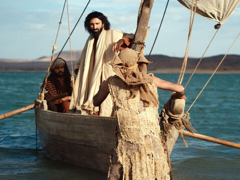 As Jesus was getting into the boat, the man who had been freed from the demons begged to go with Him. – Slide 17