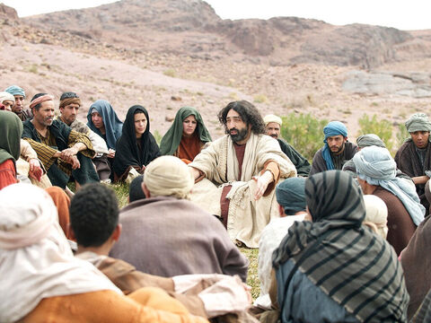 There were many people who became followers of Jesus and listened to His teaching. Men and women gathered to hear what He had to say. – Slide 1