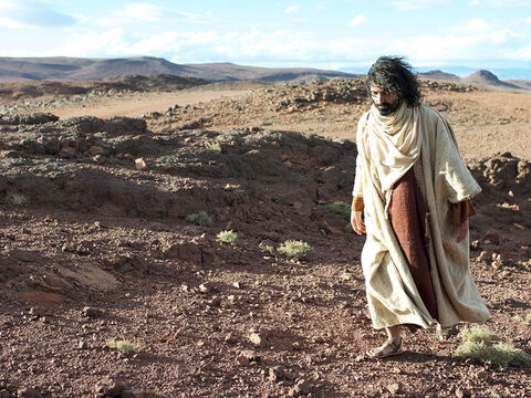 One day Jesus went up into the mountains alone to pray. – Slide 3