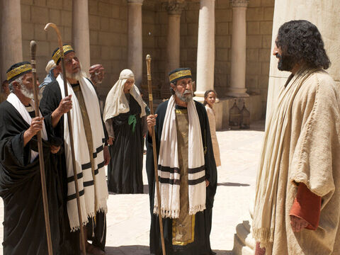 Jesus was in the Temple teaching. He spoke to the Jewish leaders saying, 'I am going away, and you will look for Me but will die in your sin. – Slide 1
