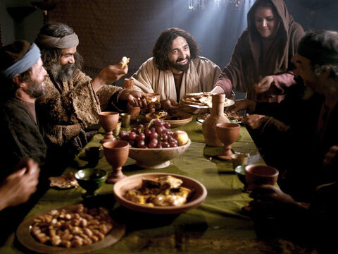 Other religious leaders would never share a meal with people like this. But Jesus and His disciples ate and talked with them. – Slide 10